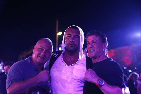 Olivier Muller, Jerome Le Banner and Sylvester Stallone
