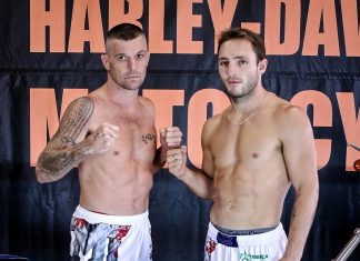 John Wayne Parr and Brad Riddell in Caged Muay Thai Fight