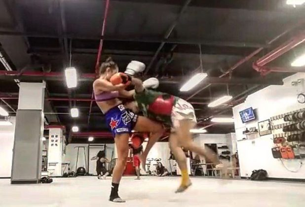 Mia Kang Clinching During Muay Thai Training