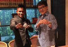 Buakaw Banchamek squares off with Jackie Chan