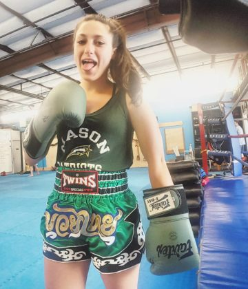 Jessica Crum at muaythai training
