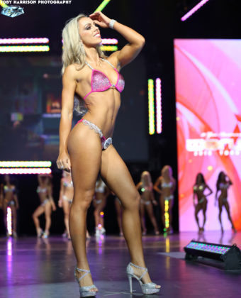 Fitness model Katie Stevens on the stage