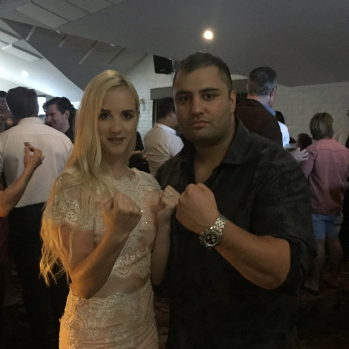 Perth couple Samra Krakonja and Jarrod Lahooti attend muay thai event at Bangla Boxing Stadium in Phuket