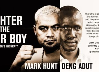 UFC fighter and kickboxing legend Mark Hunt speaks on the stage at Giant Dwarf Theatre