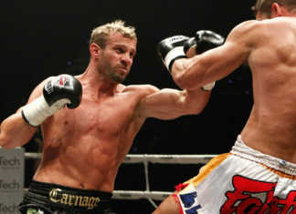Heavyweight muaythai fighters Nathan Corbett and Steve McKinnon square off in the rematch