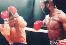 Sylvester Stallone as Rocky faces off Mr. T as Clubber Lang in the boxing showdown in Rocky III