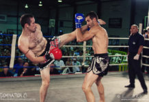 Alex James faces off Gaz Rees for the WMC Australian crusierweight title at the Domination 8 muaythai promotion in Perth, WA