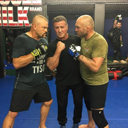 Sylvester Stallone shares a photo with Chuck Liddell and Randy Couture