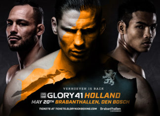 Kickboxing promotion Glory 41 Holland is held on May 20 in Den Bosch