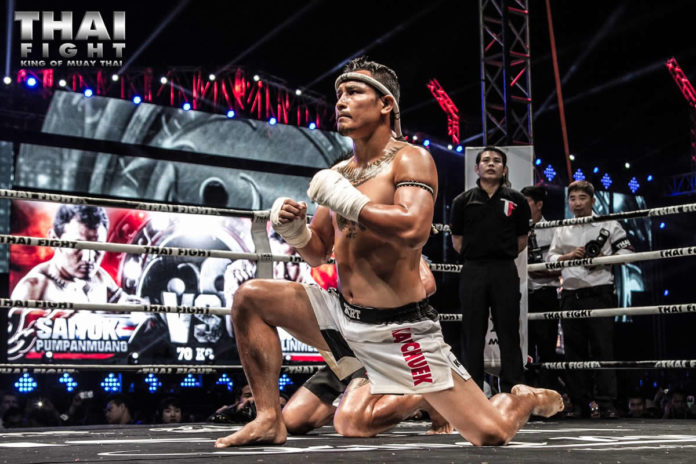 Saiyok Pumpanmuang partakes in muaythai promotion Thai Fight Turin
