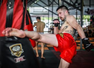 Belarusian kickboxing champion Vitaly Gurkov partakes in Kunlun Fight 62