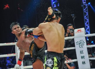 Muay Thai star Buakaw Banchamek defeats Kong Lingfeng at Kunlun Fight 62 in Bangkok