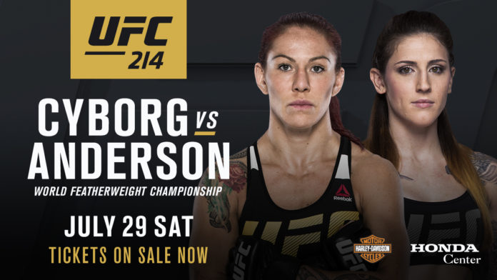 Cyborg vs Anderson co-headlines UFC 214