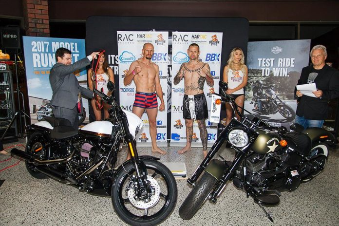 Perth Muay Thai fighters Rob Powdrill and Harald Olsen weigh-in