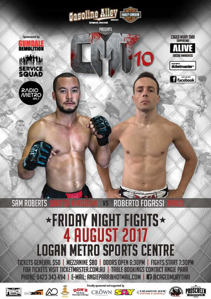 Sam Roberts faces off Roberto Fogassi at Caged Muay Thai 10