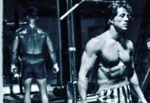 Sylvester Stallone and Dolph Lundgren prior boxing sparring in Rocky film