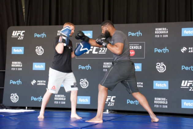 Curtis Blaydes at UFC 221 open workouts