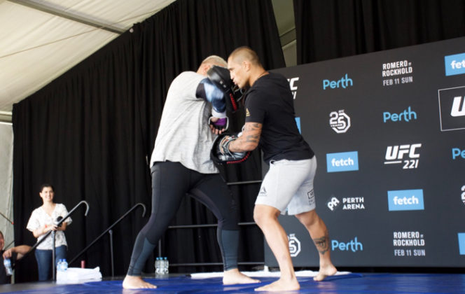 Mark Hunt at UFC 221 open workouts