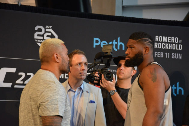 Mark Hunt and Curtis Blaydes face off at UFC 221 press conference