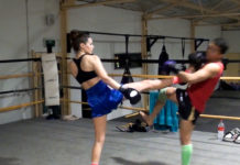 Lilian Dikmans and Dechsak Sangmorakot Muay Thai push kick training
