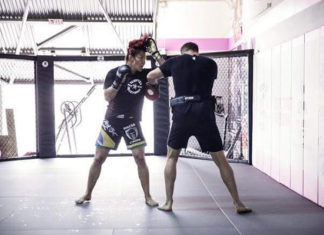 Cris Cyborg training with Nathan Carnage Corbett
