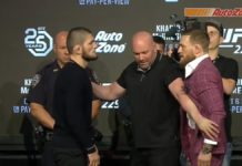 Conor McGregor and Khabib Nurmagomedov faceoff at UFC 229 press conference