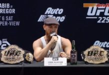 Conor McGregor comes late to UFC 229 pre-fight press conference