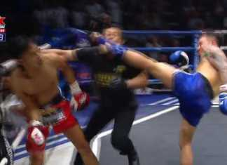 Referee gets knockout in Muay Thai fight