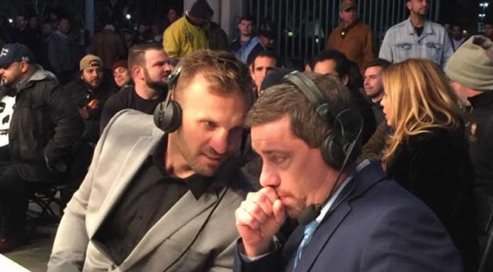Nathan Corbett and Dave Ryan co-commentators at Lion Fight 51