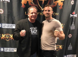 Lion Fight promoter Scott Kent with former WKN World Heavyweight champion Nathan Carnage Corbett