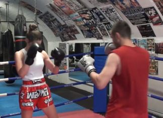 Lilian Dikmans Muay Thai training with Parviz Iskenderov