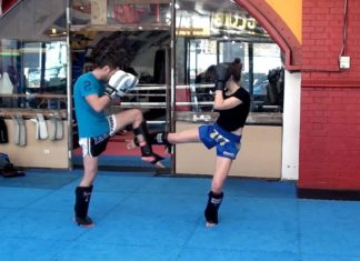 Muay Thai leg check and counterattack technique