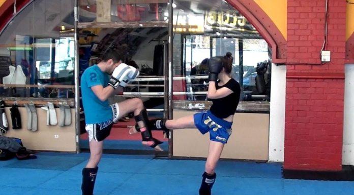 Muay Thai leg check and counterattack technique