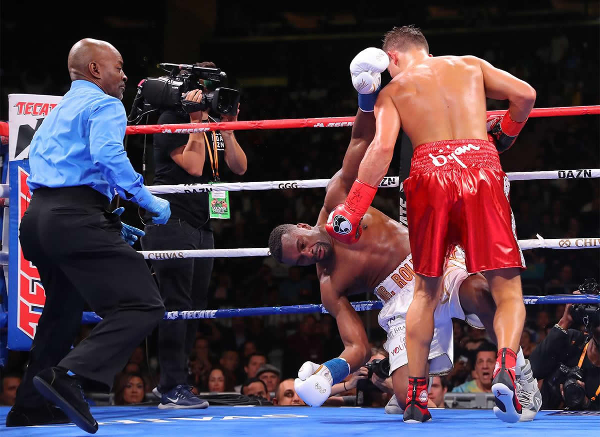 Gennady Golovkin drops Steve Rolls in the fourth-round