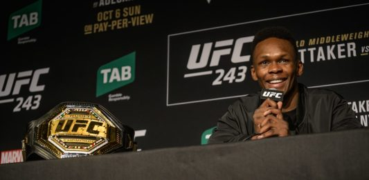 UFC middleweight champion Israel Adesanya at the press conference