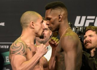 UFC 243 Robert Whittaker and Israel Adesanya face off at the weigh-ins