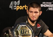 UFC lightweight champion Khabib Nurmagomedov at press conference