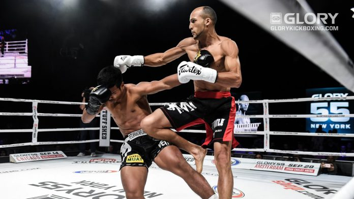 Petchpanomrung Kiatmookao vs Kevin Vannostrand in GLORY Kickboxing featherweight title fight