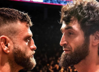 UFC Featherweights Zabit Magomedsharipov and Calvin Kattar faceoff at the weigh-ins