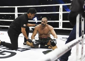 Badr Hari suffers leg in jury in the rematch against Rico Verhoeven at GLORY Collision 2
