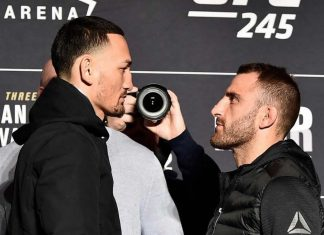 Max Holloway and Alexander Volkanovski faceoff ahead of UFC featherweight title fight