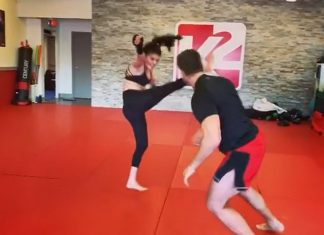 Marie Avgeropoulos and Alain Moussi put on fight choreography