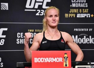 UFC women's flyweight champion Valentina Shevchenko weighs-in