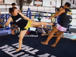 UFC champion Weili Zhang sparing with Muay Thai legend Saenchai