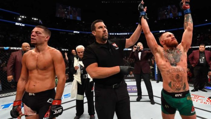 Conor McGregor victorious over Nate Diaz at UFC 202