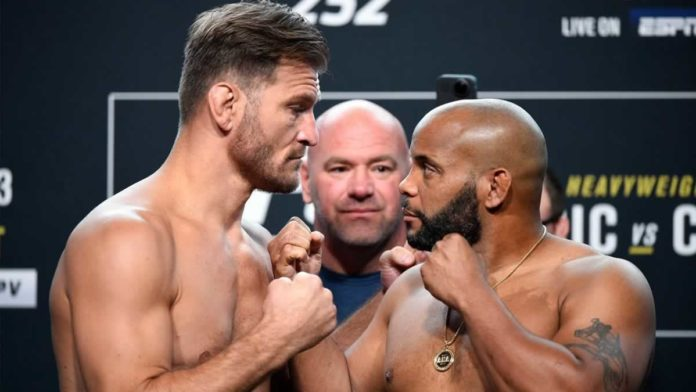 Stipe Miocic and Daniel Cormier faceoff at UFC 252 weigh-ins
