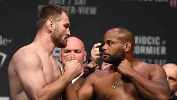 UFC heavyweights Stipe Miocic and Daniel Cormier faceoff