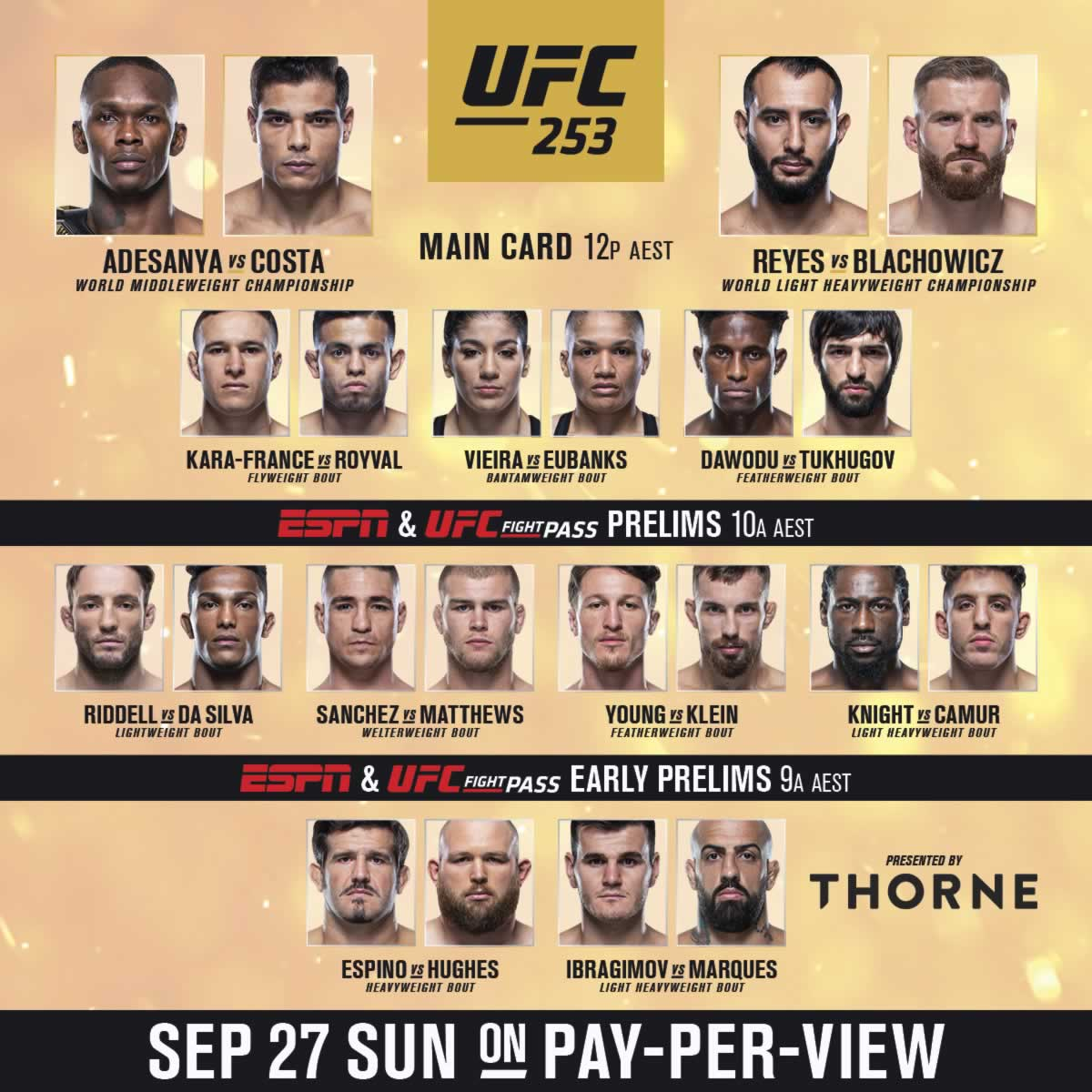 UFC 253 fight card
