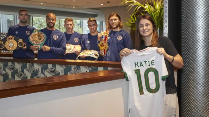 Katie Taylor with Republic of Ireland Football Team