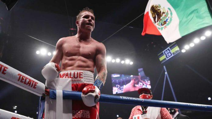 Saul Canelo Alvarez celebrates victory
